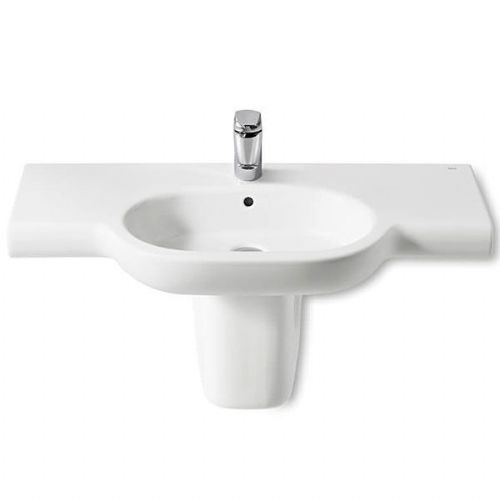 Roca Meridian-N Round Basin With Semi Pedestal - 1000mm - 1 Tap Hole - White
